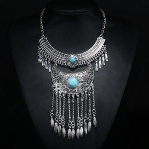 Silver Boho Statement Necklace